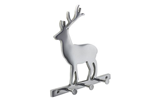 Decorative Deer Wall Mount Key Holder by Comfify | Hand-Cast Aluminum Metal Key Rack and Key Hanger | 3 Key Hooks, Polished Finish, Includes Screws and Wall Anchors (Deer AL-1507-07)