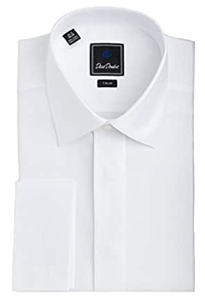 David donahue men 39 s diamond pattern covered placket trim for Tuxedo shirt covered placket