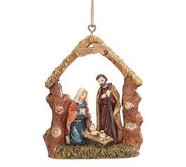 Resin Christmas Ornament 4″ Nativity Scene Jesus Mary Joseph Holiday Gift