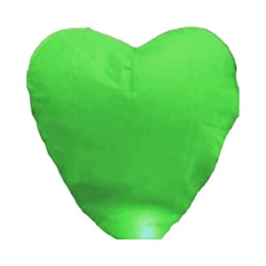 Green Heart-shaped Chinese Fire Sky Lanterns Fly Flying Paper Wish Wishing Lamp Balloon Lantern for Wedding Festival Xmas Christmas Party (Green)