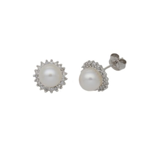 0.26 Carat Diamond with Pearl Earrings in 9ct White Gold