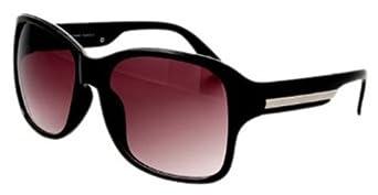 Quay 1434 Black Square Sunglasses w/ Silver Stripe