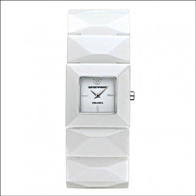 Emporio Armani AR1436 - Reloj analógico de cuarzo para mujer con correa de cerámica, color blanco