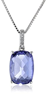 Sterling Silver Swarovski Elements Tanzanite Color Crystal and Clear Crystal Pendant Necklace, 18
