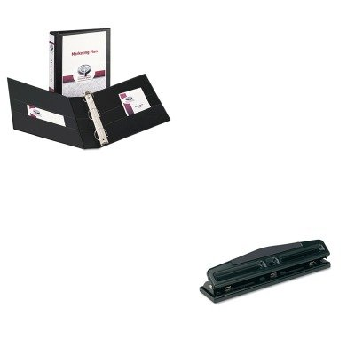 KITAVE09400UNV74323 - Value Kit - Avery Durable View Binder with Two Booster EZD Rings (AVE09400) and Universal 12-Sheet Deluxe Two- and Three-Hole Adjustable Punch (UNV74323) kitswi3747308unv10200 value kit swingline selfseal clear laminating sheets swi3747308 and universal small binder clips unv10200
