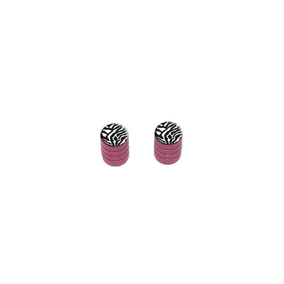 Zebra Print   Tire Rim Wheel Valve Stem Caps   Motorcycle Bike Bicycle   Pink