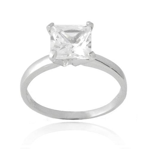 Sterling Silver 2ct Princess Cut CZ Bridal Engagement Ring