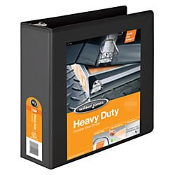 Wilson Jones Heavy Duty D-Ring View Binder with Extra Durable Hinge, 3 Inch, Customizable, Black (W385-49BPP2)