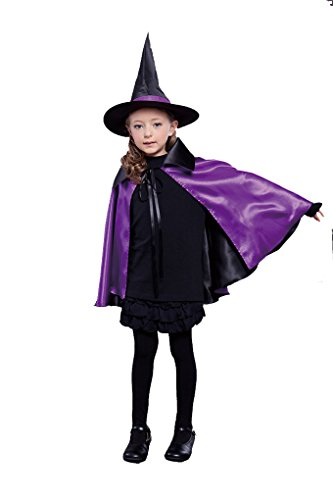 "Kids Child Cloak Cape 35"" Witch Wizard Costumes Role-playing Cosplay with Hat Cap"