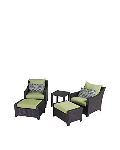 RST Brands Deco 5-Piece Club Chair and Ottoman Set, Green