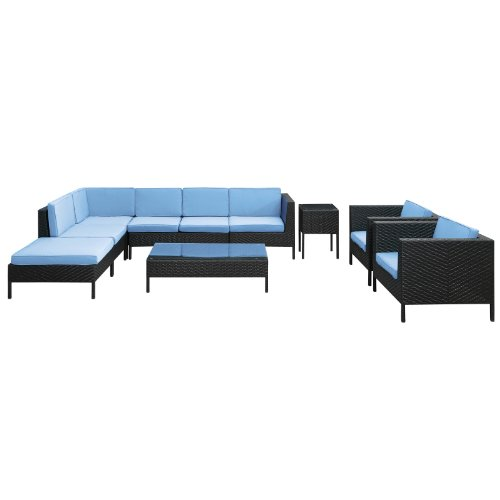LexMod La Jolla 9-Piece Outdoor Rattan, Espresso with Light Blue Cushions photo