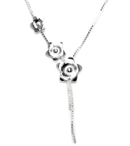 925 Sterling Silver Toned Climbing Flowers Necklace