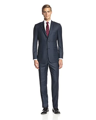 Hickey Freeman Men's Tonal Check Notch Lapel Suit