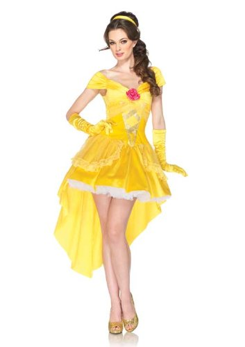 Leg Avenue Costumes Disney 4Pc.Enchanting Belle Dress Back Bow Straps Headpiece