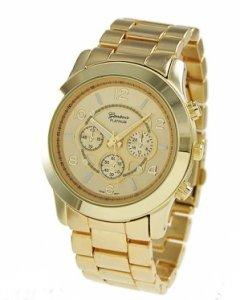 Geneva Platinum Large Face Faux Chronograph Boyfriend Watch-Gold (Geneva Platinum Watch compare prices)