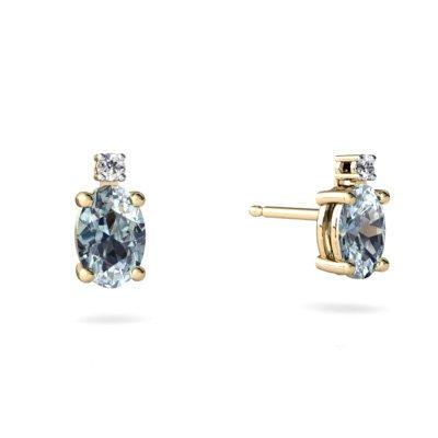 Jewels For Me 14K Yellow Gold Oval Genuine Aquamarine Stud Earrings