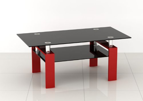 Black Glass Coffee Table With Red Legs Modern Living Room Furniture Ebay