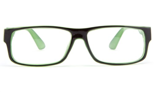 IG Unisex Clear Lens Plastic Fashion Glasses in Black/Green