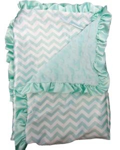 "Satin Minky Dot Baby Blanket - 30""x30"" Soft Satin with Matching Minky Side (Aqua Chevron)"