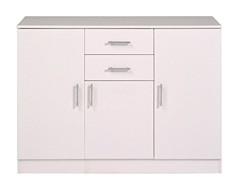 Enfilade avec 3 portes et 2 tiroirs blanc, H 88 x L 120 x P 44 cm -PEGANE-