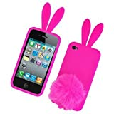 Bunny Skin Case With Furry Tail for Apple iPhone 4 (Verizon & AT&T), Hot Pink‏