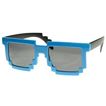 Retro Novelty Nerd Geek Gamer Colorful 2-Tone Pixel Glasses (Blue)