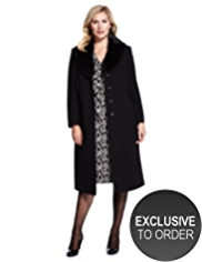 Plus Wool Blend Faux Fur Collar Coat with Cashmere