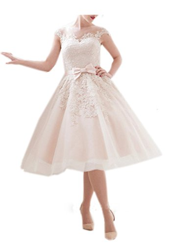 Kittybridal Vintage Lace Weding Dresses Tea Length 0
