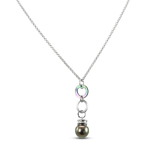 """Clevereve Designer Series Peacock Ringed Sterling Silver Pearl Necklace 16"""" + 2"""" Extension"""