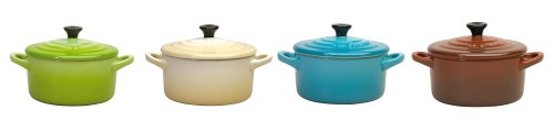 Le Creuset Set of 4 Mini Casseroles Kiwi/Dune/Blue/Chestnut 91006900125000