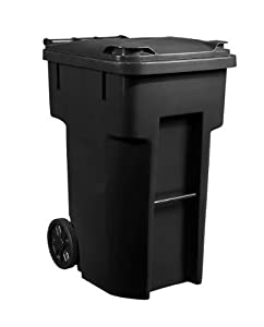 96 Gallon Black Heavy Duty Outdoor Trash Can With Wheels And Att