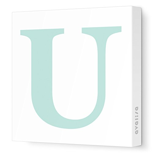 "Avalisa Stretched Canvas Upper Letter U Nursery Wall Art, Aqua, 12"" x 12"""