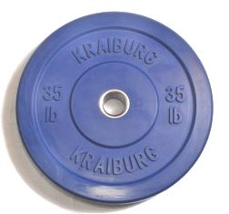 Kraiburg Premium 35 lb Blue Rubber Bumper Weight Plates for Crossfit Powerlifting, One Pair (Eleiko Bumper Plates compare prices)