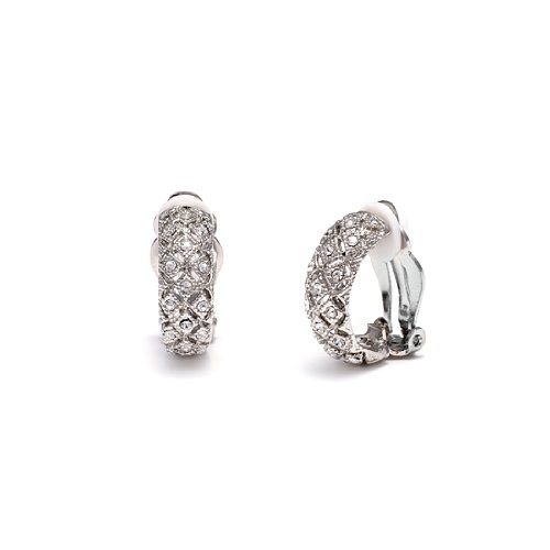 Rodney Holman Rhodium Plated Diamante Half Hoop Clip On Earrings
