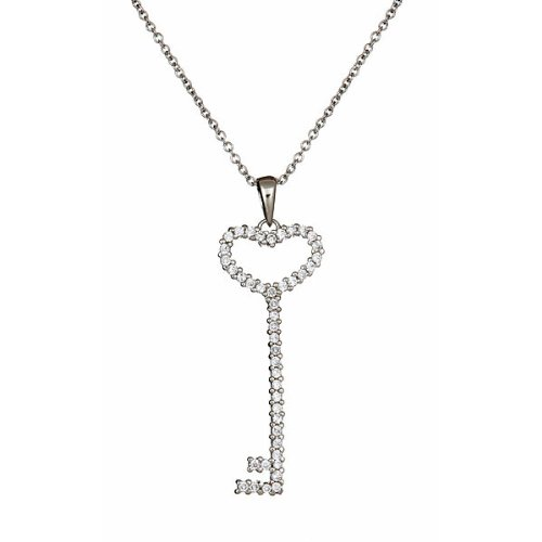 Sterling Silver CZ Heart Key Necklace 20