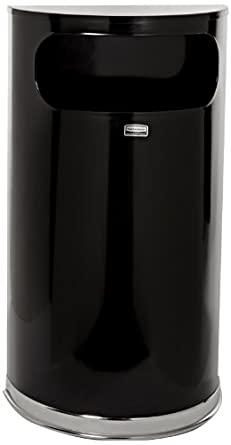 Rubbermaid Commercial Stainless Steel 9-Gallon European and Metallic Series Waste Receptacle, Half-Round, Black and Chrome