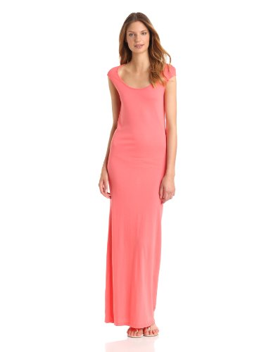 Monrow Women's Open Back Maxi Dress, Coral, Small