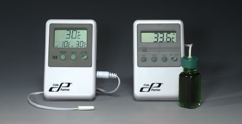 Refrigerator/freezer thermometer with bottle probe