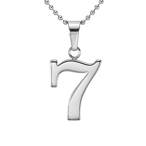 HACOOL Personalized 925 Sterling Silver Number 0-9 Character Pendant Necklace Jewelry (Seven) (Gold Number Necklace Pendant compare prices)