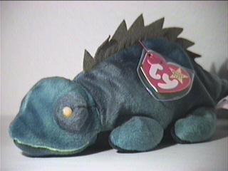 TY Beanie Baby - IGGY the Iguana (dark fabric w/ spikes) - 1