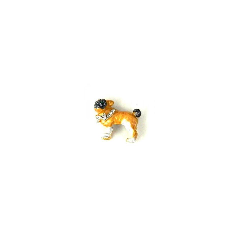 Color Enameled Bull Dog Brooch Pin with clear Austrian Rhinestone