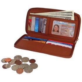 Rolfs Essentials Double Zip Leather Wallet - Tan