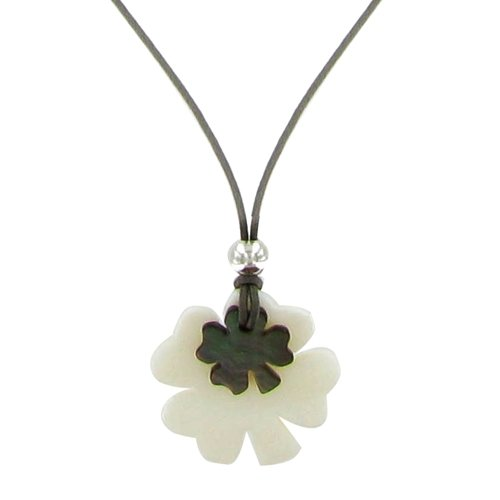 Les Poulettes Jewels - Mother of Pearl 2 Lucky Clovers Necklet