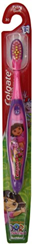 Colgate Toothbrush, Dora The Explorer, Extra Soft, Ages 2+,  Manual Toothbrushes, (Pack of 6) - 1