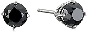 14k White Gold Black Diamond Stud Earrings (1cttw)