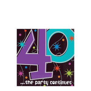 The Party Continues 40th Birthday Beverage Napkins 16ct - 1