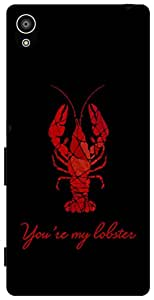 The Racoon Lean Black You're my Lobster hard plastic printed back case for Sony Xperia Z5