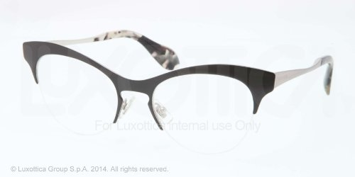 Miu MiuMIU MIU Eyeglasses MU 57MV GAQ1O1 Top Black Silver 51MM