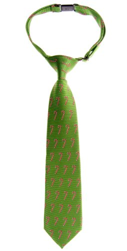 Retreez Green Christmas Woven Pre-Tied Boy'S Tie With Candy Canes Pattern - 24 Months - 4 Years