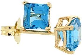 14k Gold 4 mm Natural Square Blue Topaz Stud Earrings December Birthstone 12 cttw
